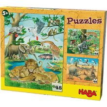 Puzzles - 3 x 48 Teile - Wilde Tiere in Afrika