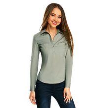 oodji Ultra Damen Hemd Basic mit Brusttaschen, Grün, DE 36/EU 38/S
