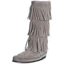 Minnetonka 3-Layer Fringe Boot, Damen Halbschaft Mokassin Boots, Grau (Grey 1T), 40 EU