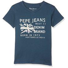 Pepe Jeans Jungen T-Shirt Fabio Jr, Blau (Ocean), 14 Jahre (Herstellergröße: 14)