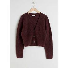 Wool Blend Cardigan - Brown