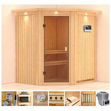 KONIFERA Sauna »Walmar«, 184x165x202 cm, 9 kW Bio-Ofen mit ext. Strg., mit Dachkranz