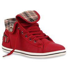Damen Outdoor Sneaker Karomuster Schuhe 64295 Rot 41 Flandell