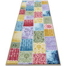 Teppichläufer Laviano | Patchwork Muster im Vintage Look | viele Größen | moderner Teppich Läufer für Flur, Küche, Schlafzimmer | Niederflor Flurläufer, Küchenläufer | Breite 80 cm x Länge 300 cm