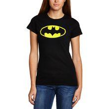 Collectors Mine Damen T-Shirt BATMAN-LOGO (WOMENS), Gr. 46 (Herstellergröße: XL), Schwarz (Herstellergröße: Manufacturer Size:X-Large)
