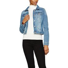 TOM TAILOR Denim Damen Jeansjacke Classic Denim Jacket, Blau (Light Stone Wash Denim 1051), 38 (Herstellergröße: M)