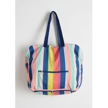 Striped Duffle Tote Bag - Turquoise
