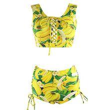 YaoDgFa Sexy Strand Damen Bikini Set Bademode Badeanzüge Bikinis für Frauen Mädchen Bandeau Neckholder Push Up Plus Size große größen
