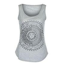 FEITONG Damen Beiläufige Sommer Sun Drucken Ärmellos Bluse Weste T-Shirt Tank Tops (2XL, Grau)