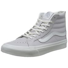 Vans Damen UA Sk8-Hi Slim Zip Hohe Sneakers, Grau (Leather Wind Chime/Blanc De Blanc), 37 EU