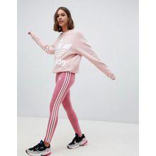 adidas Originals - Rosa Leggings mit drei Streifen - Rot