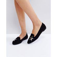 London Rebel - Flache Schuhe mit Sterndetail - Schwarz