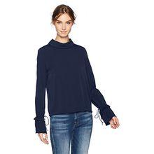 VERO MODA Damen Bluse Vmliva LS Drape Top, Blau (Navy Blazer Navy Blazer), 36 (Herstellergröße: S)