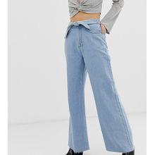 See You Never - Ausgeblichene Jeans mit Bindegürtel und weitem Bein - Blau