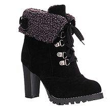 ukStore Damen Schnür Stiefeletten Kurz Winter Stiefel Warm Gefüttert Ankle Boots Plateau Blockabsatz Winterschuhe High Heels Schuhe, Schwarz 39