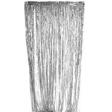 Lamettavorhang Vorhang Lametta Fadenvorhang Wandbehang Fadengardinen Deko - 3m X 1m, Silber