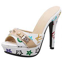 AIYOUMEI Damen Peep Toe High Heels Plateau Pantoletten mit Blumenmuster Bequem Modern Pailletten Sandalen Schuhe