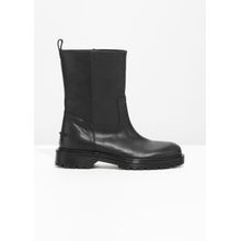 Chunky Leather Boots - Black