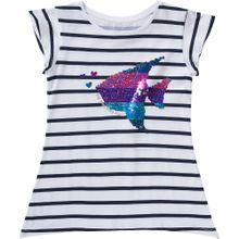Desigual T-Shirts gestreift mit Wendepailletten navy / petrol / pink / weiß