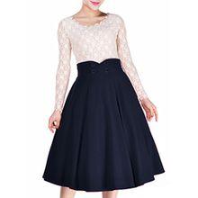 Miusol Damen Elegant Faltenrock Zweireiher Causal Business Vintage 1950er Jahr Roecke Navy Blau Gr.L