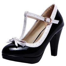 AIYOUMEI Damen Knöchelriemchen T-Spange Pumps mit Schleife und Schnalle Spike Heel Elegant Abend Schuhe