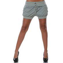 Damen Shorts Chino Hot-Pants Kurze Sommer Hose Luftige Stoffhose in angesagten Farben No 15655, Farbe:Grau;Größe:44 / 2XL