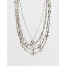 ASOS DESIGN – Mehrreihige Halsketten mit Anhängern in Silber im Set