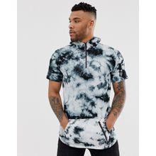 Soul Star - T-Shirt mit Kapuze in Batik - Schwarz