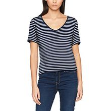 Vila Clothes Damen Vifi S/S V-Neck T-Shirt-Noos, Weiß (Snow White Stripes: Total Eclipse), 42 (Herstellergröße: XL)