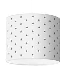 Lampenschirm Sterne, dunkelgrau-weiß, Ø40cm