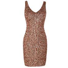 PrettyGuide Damen reizvoller tiefer V-Ausschnitt Pailletten Glitzer Bodycon Stretchy Minipartei-Kleid L Rosé gold
