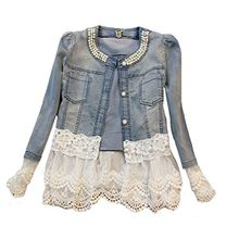 SMITHROAD Damen Denim Cotton Cute Short Jacke Denim mit Spitze Jeansjacke,Asien XL/EU 40