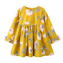 HUIHUI Kleid Mädchen, Toddler Mädchen Kleid Langarm Blumenbowknot Party Prinzessin Dress Casual T-shirt Kleid Frühlings Herbst Cocktailkleid Sommerkleider (100 (2-3Jahre), Gelb)