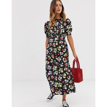 ASOS DESIGN - Midi-Freizeitkleid mit leuchtendem Blumenprint in Grunge-Optik - Mehrfarbig