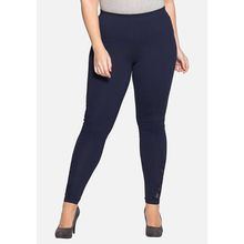 sheego Leggings mit femininer Spitze Leggings dunkelblau Damen