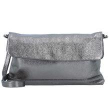 Jost Boda Clutch Tasche Leder 27 cm silber Damen