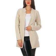 Damen lang Blazer mit Taschen ( 573 ), Farbe:Beige, Blazer 1:44 / XXL
