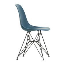Vitra - Eames Plastic Side Chair DSR, basic dark / meerblau (Filzgleiter basic dark)
