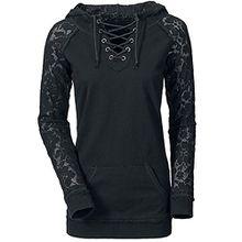 Damen Rundhalsausschnitt Mit Langen Ärmeln Slim Spitze Seil Kapuze Strickjacke Hemdblusenhemd Weise T-Shirt (L, Schwarz)