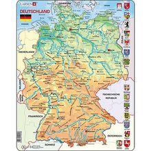 Rahmen-Puzzle, 50 Teile, 36x28 cm, Karte Deutschland (physisch)