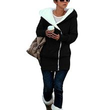 Minetom Damen Herbst Strickjacke Mantel Winterhoodie Baumwolle Langshirt Outerwear Damenpullover (Schwarz Xxl)