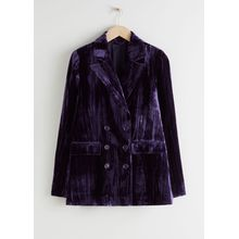 Crushed Velvet Double Breasted Blazer - Purple