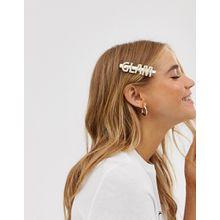 ASOS DESIGN - Goldfarbener Haarclip mit Perlenverzierung und Slogan - Gold