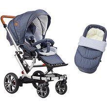 Kombi Kinderwagen F6 Air+ inkl. C2 Kompakt-Tragetasche, Gestell eloxiert/cognac, Jeans / Sterne blau-kombi