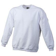 James & Nicholson Jungen Sweatshirt Round - Sweat - Heavy Junior, Gr. X-Small (Herstellergröße: XS (98/104)), Weiß