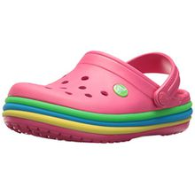crocs Kinder Sandale Rainbow Band Clog K 205205 Paradise Pink 27-28