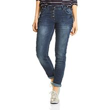 Cecil Damen Straight Jeans 371167 Scarlett, Blau (Authentic Used Wash Mid Blue 10275), W28/L30