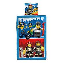Wende Linon Kinder Bettwäsche Lego City - Neu & Ovp - 135 x 200cm + 80 x 80cm - 100% Baumwolle - Feuerwehr - Polizei - deutsche Größe