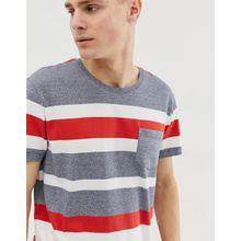Esprit - Graues T-Shirt mit roten Streifen - Grau