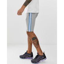 Soul Star - Jersey-Shorts mit applizierten Streifen - Grau